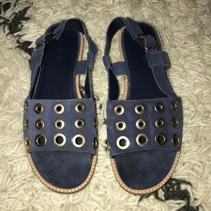 J. Crew Blue Suede Studded Sandals 6